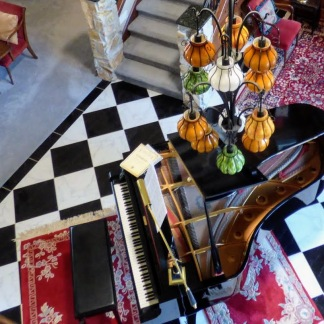 Interior with piano banner